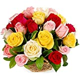 FloraZone Colorful Pearls Basket Arrangement of Mix Roses Same Day Delivery