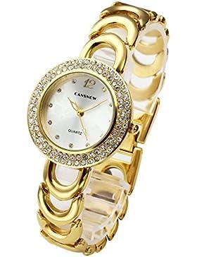 JSDDE Uhren,Elegant Damen Armbanduhr Strass Blume Zifferblatt Damenuhr Metall-Band Analog Qaurzuhr Armreif Uhr...