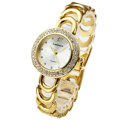 Gold-silber-uhr-band (JSDDE Uhren,Elegant Damen Armbanduhr Strass Blume Zifferblatt Damenuhr Metall-Band Analog Qaurzuhr Armreif Uhr,Gold+Silber)
