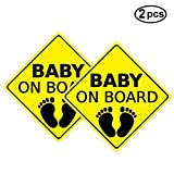 Yinuoday Baby ON Board Sticker Car Decals Safety Signs Self-Adhesive Easy to Install Waterproof 2pcs (Style B)