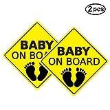 Yinuoday 2 stücke Baby AUF Bord Aufkleber Auto Aufkleber Sicherheitszeichen Selbstklebend Einfach zu Installieren Wasserdicht (Stil B)
