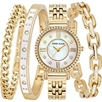 Anne Klein Womens Quartz Watch, Analog Display and Stainless Steel Strap AK3400WTST