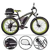 BIT Riche Vélo Électrique Hommes E-vélo Fat Snow Bike 1000W-48V-17Ah Li-Batterie 26 * 4.0 VTT Vélo Shimano 21 Vitesses Freins à Disque Intelligent vélo électrique (Green Plus)