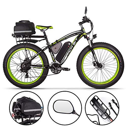 RICH BIT Bicicleta eléctrica para Hombres E-Bike Fat Snow Bike 1000W-48V-17Ah Li-batería 26 * 4.0 Bicicleta de montaña MTB Shimano 21-Speed Disc Brakes Intelligent Electric Bike (Green Plus)