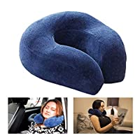 Gluckluz Memory Foam Pillow Travel Neck Cushion Support with Washable Cover for Car Office Airplane Home Bedroom (Blue)