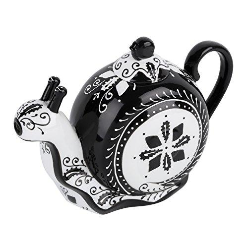 Artvigor, Porzellan Kaffeekanne, Handbemalt Teekanne 1,2 L, Schnecke Deko, Geschenk