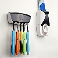 Dispensador de pasta de dientes y porta cepillos color blanco