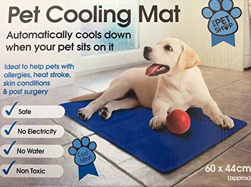Mega_Jumble Self Cooling Gel Pet Dog Cat Cool Mat Pad Bed Mattress Heat Relief Non-Toxic 60 x 44cm Blue