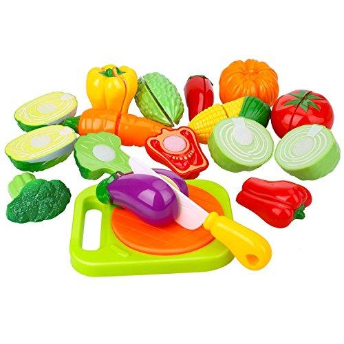 Peradix Schneidegemüse Spielzeug Kunststoff Lebensmittel Kaufladen Zubehör 14 PCs mit Schneidebretter Schneidermesser und Süße Schütze