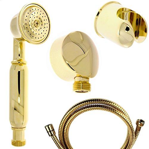 Nostalgie Retro Handbrause / Brause / Brausekopf / Duschkopf mit Brauseschlauch, Wandanschlussbogen und Brausehalterung aus Messing mit gold Oberfläche