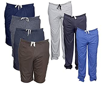IndiWeaves Mens Combo Pack(Pack of 4 3/4 Shorts/Bermuda and 3 Lower/Track pants)_Blue.::Grey::Blue::Grey::Grey_40