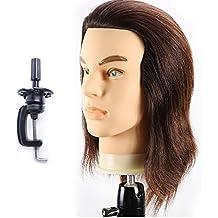 Cabeza Maniquí hombre 100% Pelo Natural Peluqueria practicas Formación Muñeca de la Cosmetología (con soporte) EHG0408W
