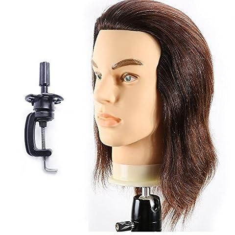 Têtes D'exercice Tête À Coiffer Mâle 100% Cheveux Naturel Coiffure Cosmétologie Pratique Mannequin Poupée + Titulaire EHG0408W