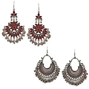 Zephyrr Fashion Oxidized Silver Tribal Dangler Hook Chandbali Earrings Set of 2 for Girls and Women