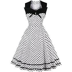 Robe de Soirée Vintage Chic Courte au Genou pour Mariage Impression à Pois Swing Plissée en Coton Blanc S