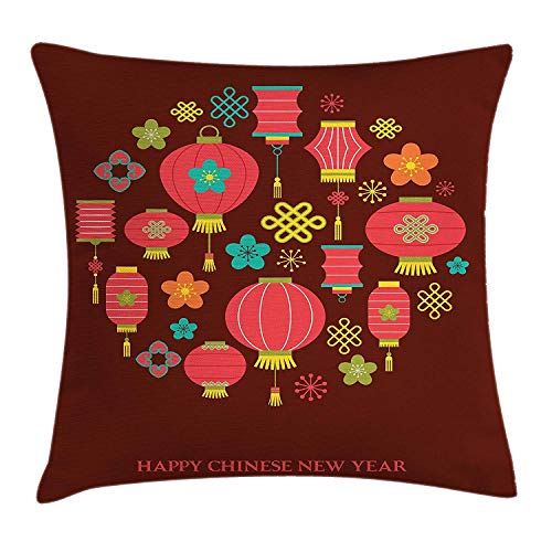 Xukmefat Chinese New Year Throw Pillow Colorful Festive Celebration Icons Lanterns Knots Flowers Asian Culture