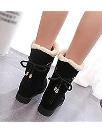 Dooxi Mujer Invierno Antideslizante Nieve Botas Moda Atada Botines Casual Calentar Forrado Zapatos