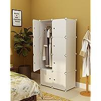 Preisvergleich für Koossy Erweiterbares Kleiderschrank Regalsystem für Kinderzimmer Wohnzimmer und Schlafzimmer Weiß