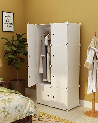 Koossy Erweiterbares Kleiderschrank Regalsystem für Kinderzimmer Wohnzimmer und Schlafzimmer Weiß