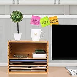 Homfa Valisette Porte-Documents Organiseur de Bureau Réglable en Bambou 36×25×26cm