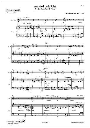 PARTITION CLASSIQUE - Au Pied de la Cité - J.-M. MAURY - Saxophone Alto & Piano