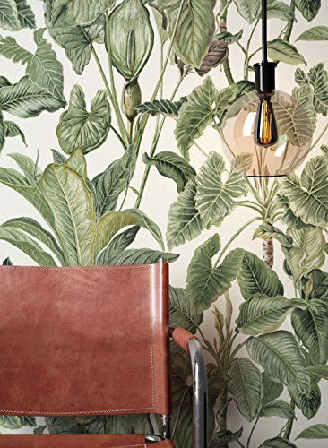 #NEWROOM Blumentapete Tapete Grün Blumen Blätter Floral Vliestapete Vlies moderne Design Optik Tapete Modern inkl. Tapezier Ratgeber#