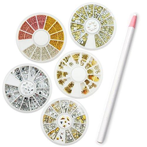 Coscelia Nageldesign Dekoration Set 5x Nagelschmuck Box inkl. Micro-Perlen Strasssteine Nagelsticker +1xStrassstein-Picker Stift