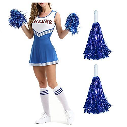 GxNImer Ladies Cheerleader Fancy Dress Outfit, Musical Sports Cheerleader Fancy Dress Kostüm Outfit W/Pompoms und Halloween Kostüm 6 Colours/XS, S, M, L, - Womens Blue Cheerleader Kostüm