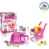 Smiles Creation Electronic Cash Register Pretend To Play With Shopping Cart And Sound Toys For Kids - Assorted Color