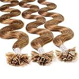Just Beautiful Hair 200 x 0,8g REMY U-Tip Bonding Extensions - 50cm - gewellt - #8 Hellbraun - Echthaar Extensions Haaverlängerung Nail Keratin