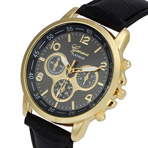 UNNSEAN Uhr,Unisex Casual Genf Kunstleder Quarz Analog Armbanduhr Uhren Runde Multifunktional Chronograph Mode Klassisch Beiläufig Armbanduhren (Schwarz)