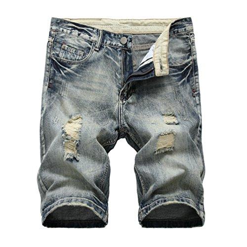 Yiiquan elasticizzati da uomo strappati jeans spiaggia pantaloni corti pantaloncini distrutto patchato stile (grigio, asia 34)