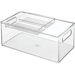 """InterDesign Recipientes para almacenamiento en cocina; organizan despensa, refrigerador - 8"""" x 14"""" x 6"""" - juego de 2 - Claro"""
