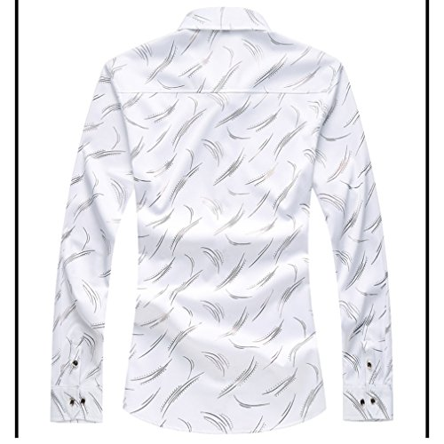 Honghu Herren Casual Stretch Modern Fit Langarm Button-down Hemden Weiß