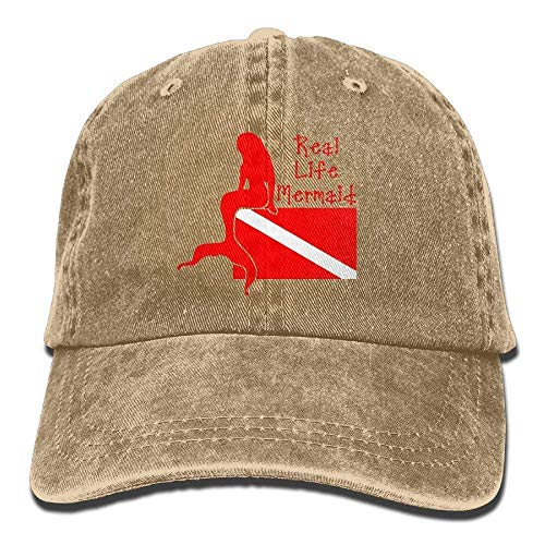 Hipiyoled Real Life Mermaid~Scuba Diver Dive Flag Vintage Washed Dyed Cotton Twill Low Profile Adjustable Baseball Cap Black ABCDE01194