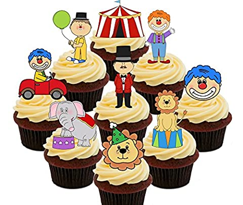 Circus Party Pack, Kids' Edible Cupcake Toppers - Stand-up Wafer Cake Decorations (Pack of 72)