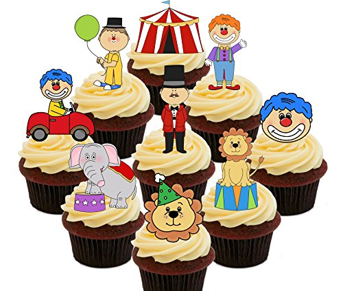 Circus Party Pack, essbaren Kuchen Dekorationen - Stand-Up Wafer Cupcake Topper, Pack of 36
