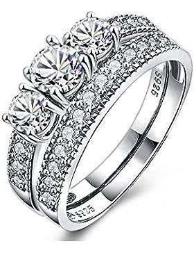 2 Ring Alliance Weissen Kristall Swarovski Elements Weiß - Blue Pearls -