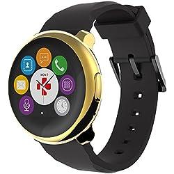 MyKronoz ZeRound - Reloj inteligente/pulsera de fitness, unisex, Smartwatch Fitnesstracker ZeRound, gold-Schwarz (KRZEROUND-YELLOW-GOLDBL)