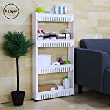 ORPIO (LABLE) Plastic 4 Tier Kitchen Storage Organiser Rack Holder With Wheels For Kitchen/Bathroom And Living Room Space Saver (White)