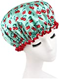 Moolecole Women's Cherry Printed Waterproof Double Layer Shower Cap Elastic Band Bathing Cap Spa Shower Hat