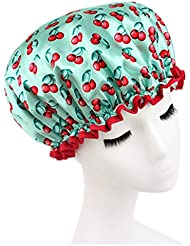 Moolecole Mode Femmes Cherry Printed Double Layer Bonnet De Douche Elastic Band Shower Cap Spa Bonnet De Bain