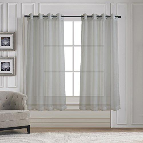 Aquazolax Voile Vorhang mit Ösen transparent 2 Stücke unifarbene lichtdurchlässig Gardinen Fensterschal Vorhänge Breite 137cm x Länge 160cm,2er-Set, Grau (63 Lange Gardinen)