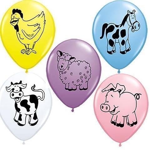 Tiere Auf Dem Bauernhof Sortiment Qualatex 11 Zoll Latexballons (Gemischte Farben, 10er Packung)
