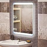 KROLLMANN Badspiegel mit LED Beleuchtung / Badezimmer Spiegel beleuchtet mit Touch Sensor und Digitaluhr, 50 x 70 cm