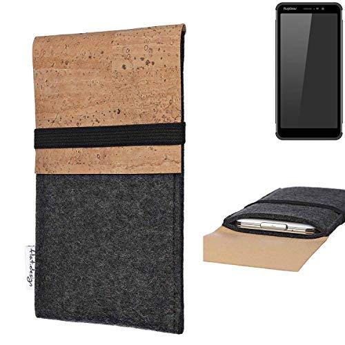 flat.design Handy Hülle SAGRES für Ruggear RG850 Made in Germany Handytasche Filz Tasche Schutz Case fair Kork