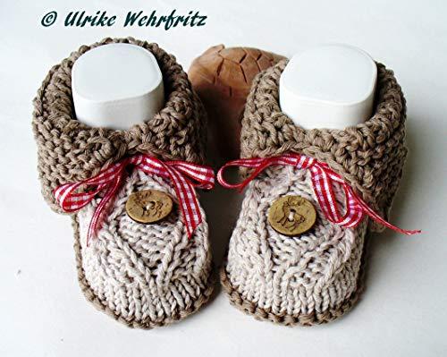 Schuhe Honig ❀ Selbstgestrickte Baby Schuhe Socken Babyschuhe Handarbeit Grün/weiß Warm Und Winddicht Kleidung, Schuhe & Accessoires