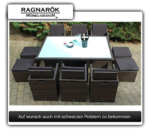 Gartenmöbel PolyRattan Essgruppe Tisch mit 6 Stühlen & 4 Hocker - 5