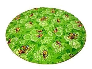 kinderteppich biene maja mit blumen teppich gr n 130 cm rund k che haushalt. Black Bedroom Furniture Sets. Home Design Ideas