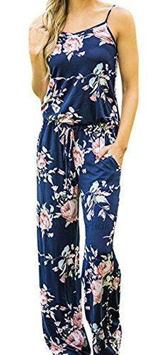 Smile Fish Women Floral Adjustablt Spagettic Strap Wide Leg Drawstring Jumpsuits